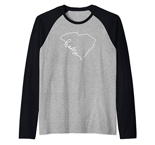 State of South Carolina Outline with Home Script ACJ040b Raglan Baseball Tee