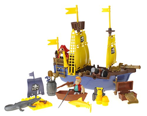Toy Pirate Ship Playset w/ Ship, Pirates, Cannons, Treasure, Weapons & More!]()