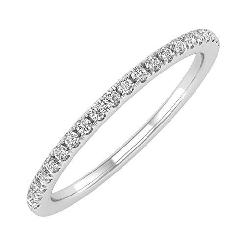 14K White Gold Half Eternity Diamond Wedding Band Ring for Women (0.15 Carat) - IGI (Ring Size 6.5)