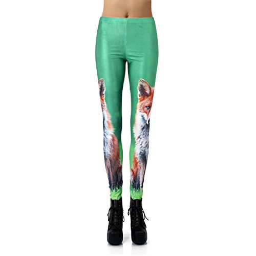 LoveLiness Women Green Fox Print Leggings Pants (One Size, Multicolor)
