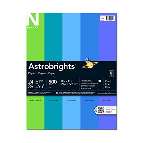 Neenah Astrobrights Premium Color Paper Assortment, 24 lb, 8.5 x 11 Inches, 500 Sheets, Cool