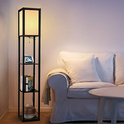 Floor Lamp with Shelves - Albrillo Modern Shelf Floor Lamp for Living Room Bedroom Office, Standing Lamp with Wooden Frame, White Shade (Wooden Lamp Shades)