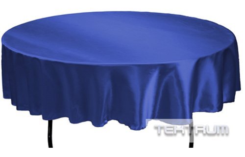 TEKTRUM 90 INCH ROUND SILKY SATIN TABLECLOTH - PREMIUM FABRIC (Royal ()