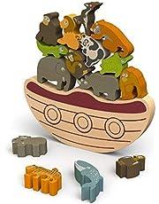 BeginAgain Balance Boat: Endangered Animals Game and Playset– Award-Winning Stacking Toys Game – Balance Game with Wooden Toy Animals