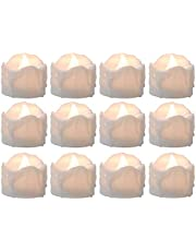 Tealight Candles Battery Operated with Timer (6Hrs ON 18Hrs Off Cycle), 12pcs Timing LED Flickering Flameless Tea Light Electric Fake Votive Candles