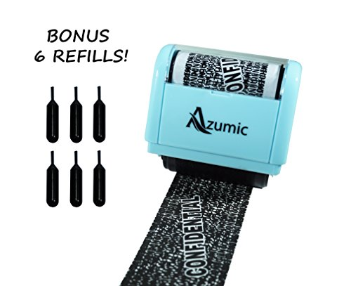 Wide Roller Stamp for Identity Theft Protection + 6 Pack Refills - Confidential Privacy Prevention ID Guard - by Azumic (Id Stamp Guard)