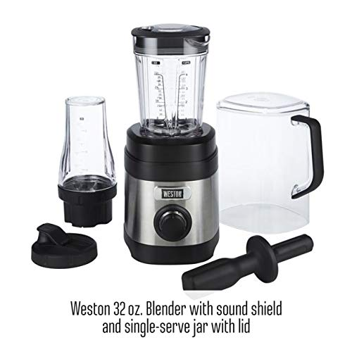 Weston Sound Shield Pro Series 1.6hp Blender with 32oz + 20oz Blend-in Personal Jar, Variable Speed Dial for Puree, Ice Crush, Shakes and Smoothies, Black and Stainless Steel (58918)