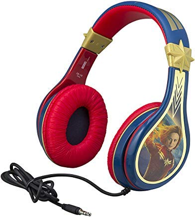 Kids Headphones for Kids Captain Marvel Adjustable Stereo Tangle-Free 3.5mm Jack Wired Cord Over Ear Headset for Children Parental Volume Control Kid Friendly Safe Perfect for School Home Travel