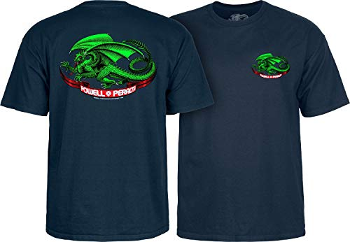 (Powell Peralta Oval Dragon Skateboard T Shirt - Navy - XXL)