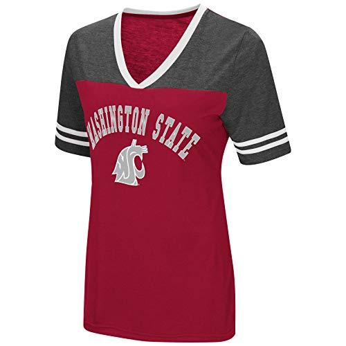 (Colosseum Women's NCAA Varsity Jersey V-Neck T-Shirt-Washington State)