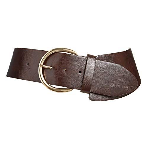 (Style & Co. Women's Asymmetrical Stretch Belt, Brown, L/XL)