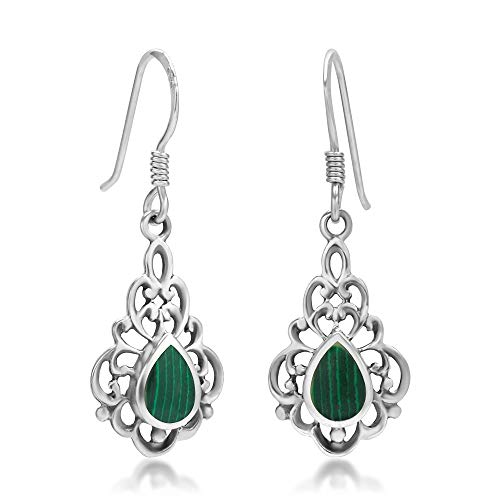 - 925 Sterling Silver Bali Inspired Green Stone Filigree Dangle Hook Earrings