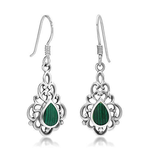 925 Sterling Silver Bali Inspired Green Stone Filigree Dangle Hook Earrings ()