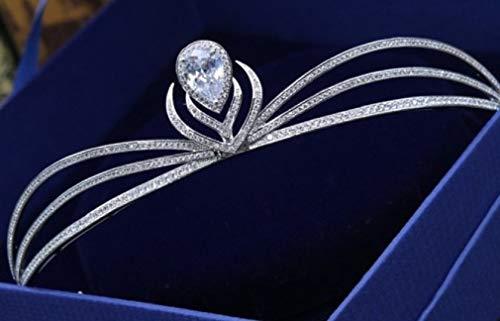 Stunning Tiaras with Rhinestones/Pearls for Wedding/Sweet Sixteen/Flower Girl/Quinceanera/First Communion Crown Headdress-Various Designs (Geometric Zirconia)