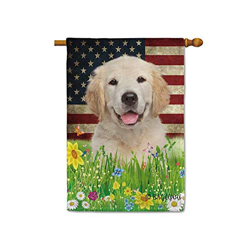 BAGEYOU Cute Puppy Golden Retriever House Flag Lovely Pet Dog American US Flag Wildflowers Floral Grass Spring Summer Decorative Patriotic Banner for Outside 28x40 inch Printed Double Sided