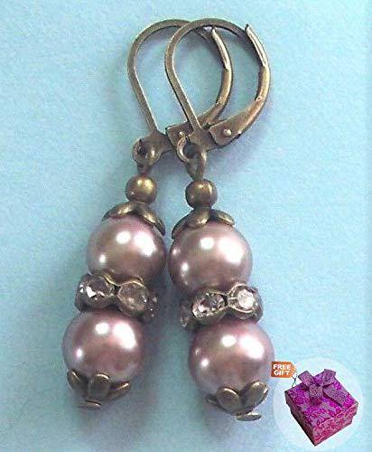 Taupe Glass Pearl Crystal Earring Bronze Lever Back Artisan Earrings For Women Set + Gift Box For Free