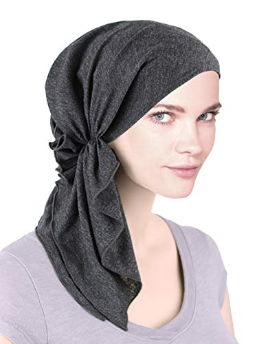 The Bella Scarf Chemo Turban Head Scarves Pre-Tied Bandana for Cancer Charcoal Gray