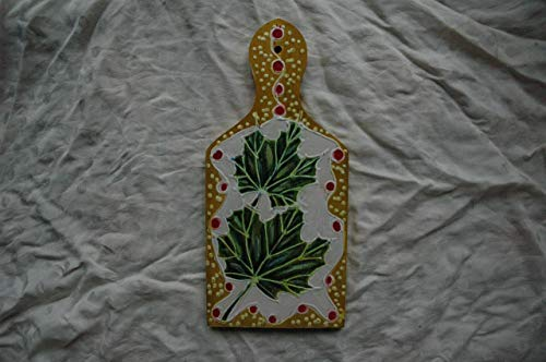 Sale!!!10% Off,Hand Painted Sycamore Leaves Wooden Cutting Board, Art Gift, Leaves of the Sycamore Botanical, Leaves Wall Decor, Mini Green Sycamore Tree Leaf. ()