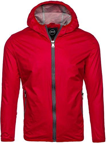 Plain Zip Red Casual Sport 4D4 Hood BOLF Men's Ribbed Outdoor 8012 Military Mix Jacket Transitional 4qOvAnxwXt