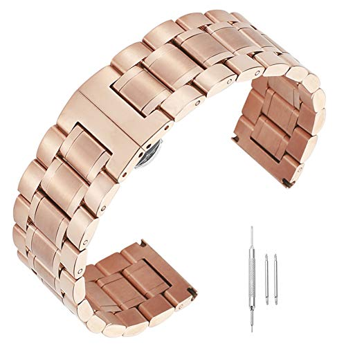 14 16 17mm 18mm 19mm 21mm 22mm 23mm 24mm Watch Band Solid Wrist Premium Metal Replacement Strap Rose Gold ()