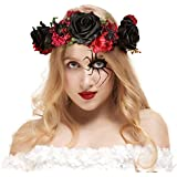 Valdler Halloween Spider Flower Crown Vintage Dark and Dramatic Dead Roses Headband for Festivals Party Black+Red (A-Halloween Style-24BL)