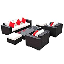 Outsunny 7pc Outdoor Rattan Wicker Sofa Set Garden Patio Furniture w/ Table Ottoman Cushions Coffee