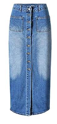 Pandapang Womens Vintage Slit Pocket High Waist Washed Denim Long Skirt