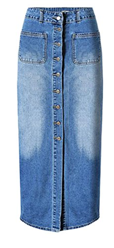 Pandapang Womens Vintage Slit Pocket High Waist Washed Denim Long Skirt Blue L