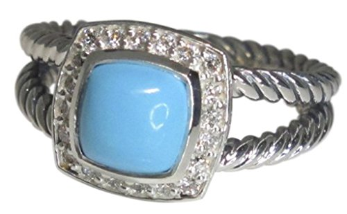 (Designer Inspired 7mm Cushion Cable Twisted Turquoise Ring (7))