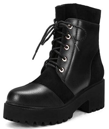 Idifu Womens Platform Trendy Mid Chunky Heels Lace Up Stivaletti Short Booties Neri