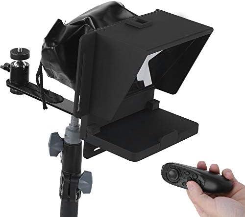 Fdit Teleprompter portátil, Teleprompter Universal para teléfono móvil Cámara SLR para reproducción de Video Disparo Transmisión en Vivo, con Control Remoto
