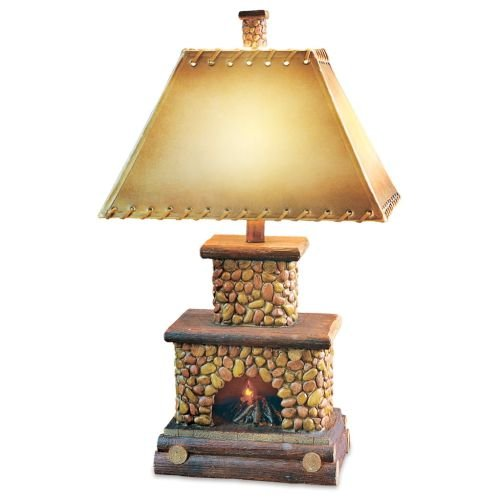 Stone Fireplace Lamp with Night Light [Misc.] by Black Forest Decor