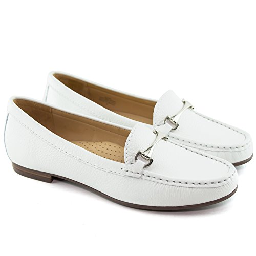 Driver Club USA Women's Genuine Leather Made in Brazil Grand Street Fashion Shoes White Grainy outlet low shipping fee amazon for sale recommend sale online 7uYV5uK