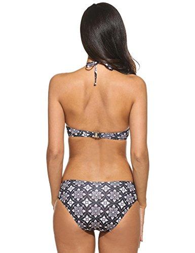 Teamyy Conjunto de Bikini atractivo traje de baño de tirante bañador de las mujeres Negro 1