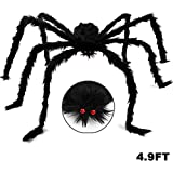 Dreampark Halloween Giant Spider, Halloween Spider Outdoor Decoration Fake Large Hairy Spider Props Yard Decor (4.9FT)
