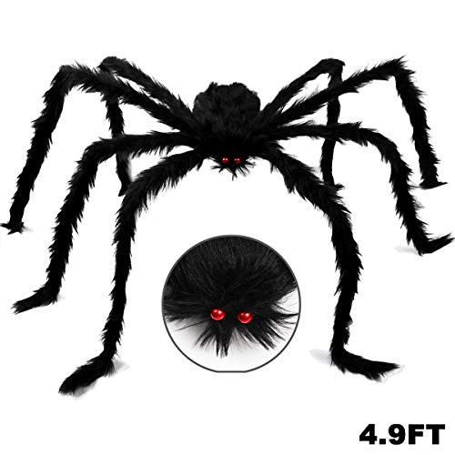 Dreampark Halloween Giant Spider, Halloween Spider Outdoor Decoration Fake Large Hairy Spider Props Yard Decor (4.9FT)]()