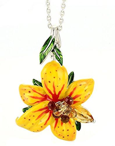 chariot-trading-flower-pendants-necklace-yellow-flower-enamel-pendant