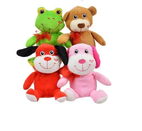 Bundle: Plush Valentine Animals Four (4) animals: Pink Kitty, Brown Bear, Red Dog, and Green Frog (Brown Green Frogs)