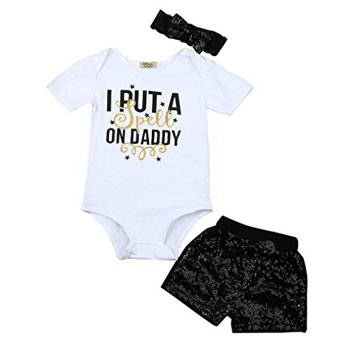 TRENDINAO 2017 New Newborn Baby Girls Boys Letter Tops Romper Sequin Shorts Pants Outfits Clothes Set (6-12 Months, #C)