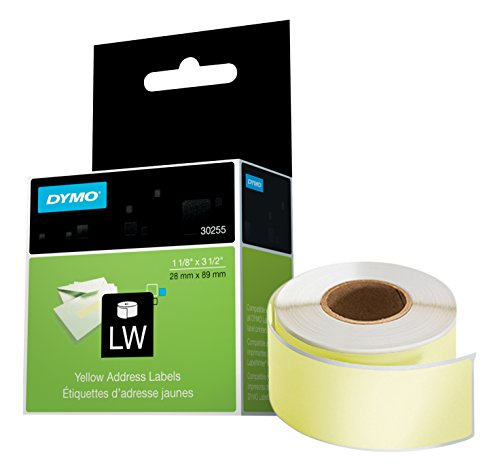 DYMO LW Mailing Address Labels for LabelWriter Label Printers, Yellow 1-1/8