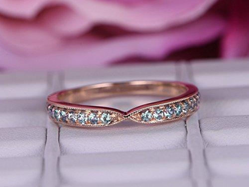 Green Alexandrite Wedding Band Half Eternity Anniversary Ring 14K Rose Gold ()