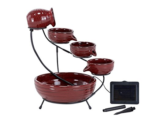 Smart Solar 23941R01 Ceramic Solar Cascade Fountain, Lava Red Finish, Powered by Included Separate Solar Panel, No Operating Costs or Wiring (Ceramic Solar Cascade)