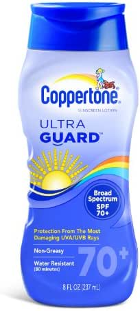 Coppertone Ultraguard Sunscreen Lotion, SPF 70+, 8-Ounce Bottles (Pack of 2)