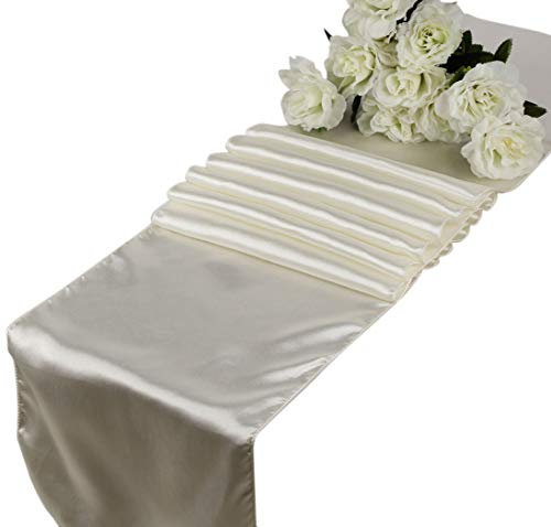 (mds Pack of 10 Wedding 12 x 108 inch Satin Table Runner for Wedding Banquet Decoration-)