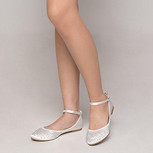 SheSole Women's Ballet Flat Ivory US 9