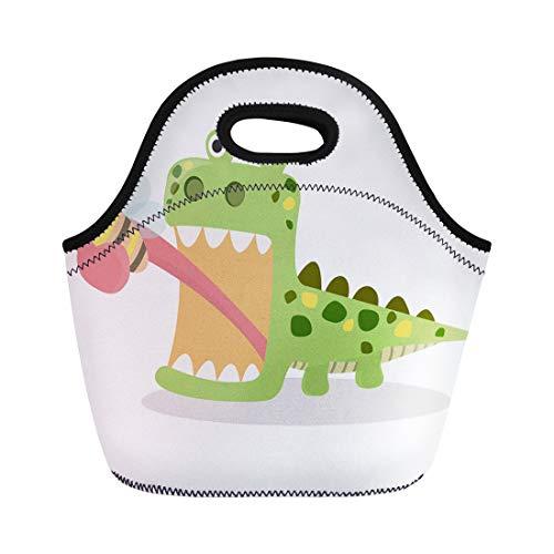 Semtomn Lunch Bags Cute Lizard Eating Bug Tongue Cartoon Green Funny White Neoprene Lunch Bag Lunchbox Tote Bag Portable Picnic Bag Cooler Bag
