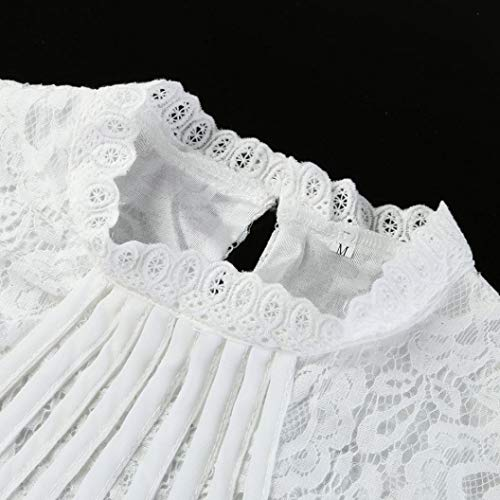 Debardeur T Tops Montant Dbardeur Longue Dentelle Pure Femme Tops Lady Sixcup Couleur Manche lgant Pleine Col Top Blanc Chemisier Shirt Tee nzFSTTq6P