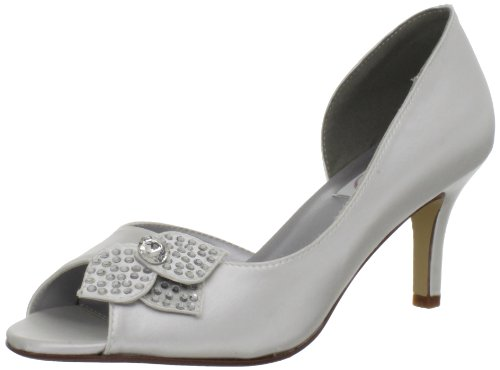 Dyeables Womens Tyra Peep-toe Pumpe White Satin