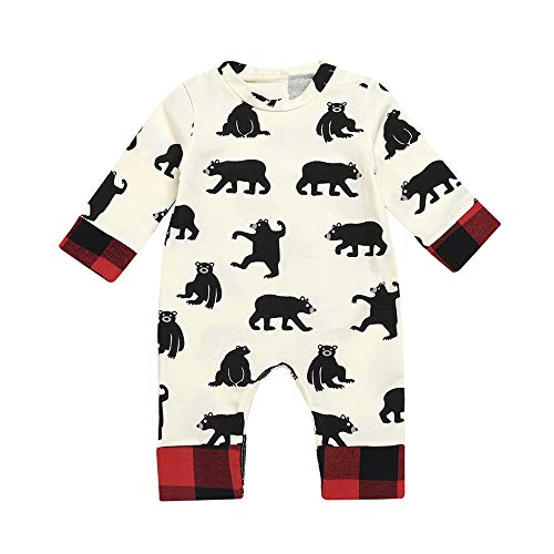Franterd Baby Girls Boys Romper Kids Autumn Cartoon Animal Bear Bum One-Piece Plaid Jumpsuit]()