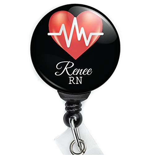 Limeloot Heart EKG Custom Personalized Nurse Retractable Badge Reel with Swing Clip and 36 Inch Cord. ()
